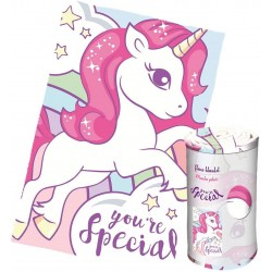 Couverture Plaid polaire Licorne soyeux de la Collection Unicornes - 100 x 150 cm